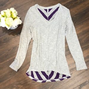 ❤️3 for $20- Super Soft Top with Striped Back- Med